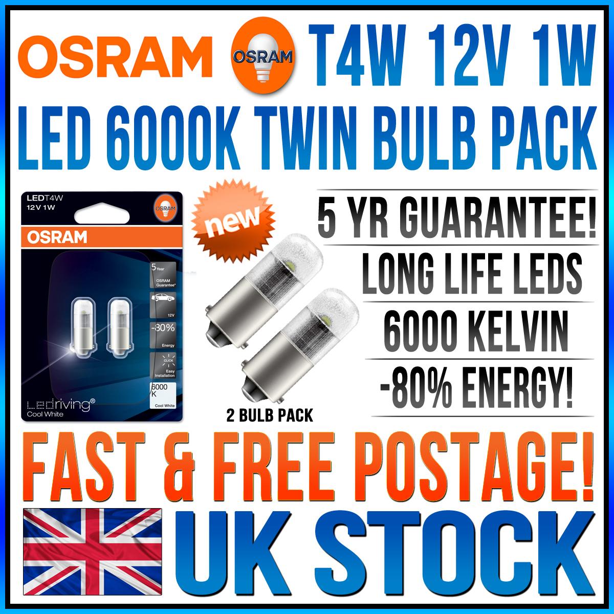 2x osram led t4w ba9s 233 12v 1w 6000k bulbs porsche 911 2 0 t ebay. Black Bedroom Furniture Sets. Home Design Ideas